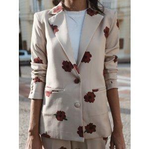 Blazer Oversized Fleurs Rouge - P Branco