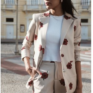 Blazer Oversized Fleurs Rouge - Gg Branco