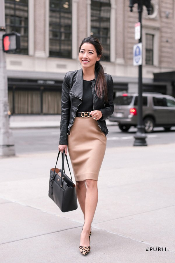 Jean Wang - office look - jaqueta de couro - inverno - office look