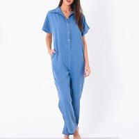Macacao Camisa Longo Azul - P Azul