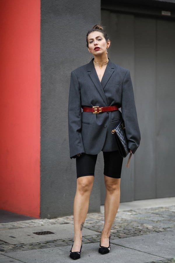 Masha Sedgwick - biker short e blazer - biker shorts - inverno - street style