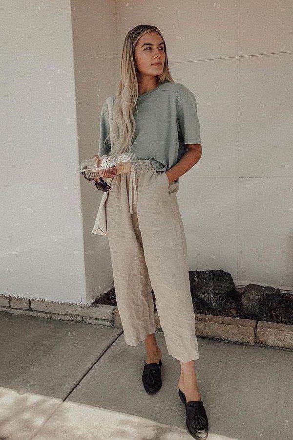 Ryanne Nicolee - calça de linho e camiseta - calça de linho - inverno - street style
