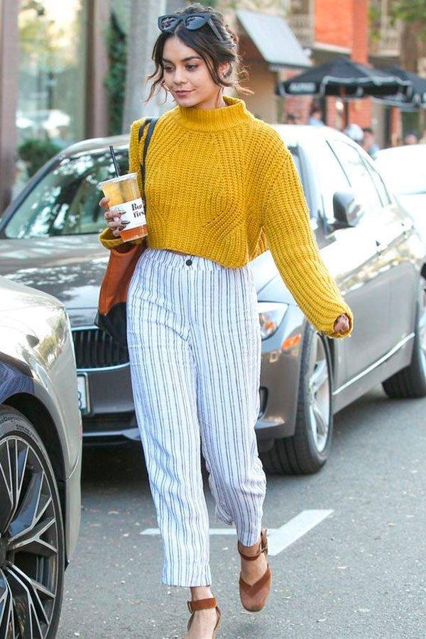 Vanessa Hudgens -      - calça listrada - inverno - street style