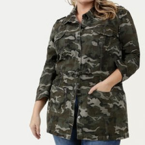 Jaqueta Feminina Sarja Parka Camuflada Plus Size