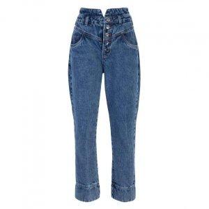 Calça Jeans Reta Recorte V