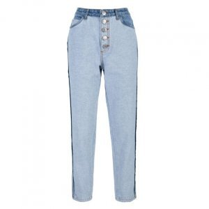 Calça Jeans Slim Botões Vista E Contraste