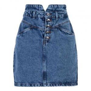 Saia Jeans Com Recorte V
