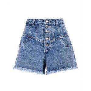 Shorts Jeans Recortes Botão Vista