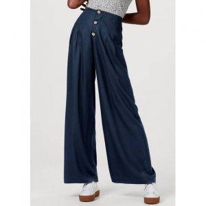 Calça Feminina Pantalona Com Fechamento Por Botões