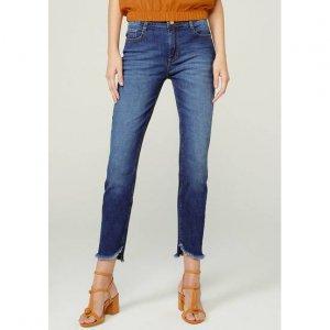 Calça Jeans Skinny Cropeed Com Cintura Média