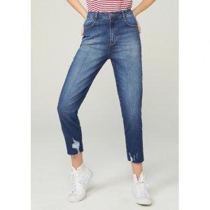 Calça Jeans Cropped Com Cintura Alta E Lavação Tradicional