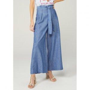 Calça Jeans Pantalona Clochard Com Amarração