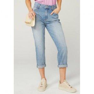 Calça Jeans Wide Leg Com Barras Desfiadas