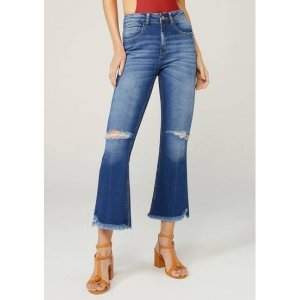 Calça Jeans Cropped Flare Com Barra Destroyed