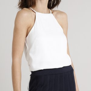 Body Feminino Halter Neck Alças Finas Off White