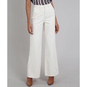 Calça De Sarja Feminina Pantalona Off White