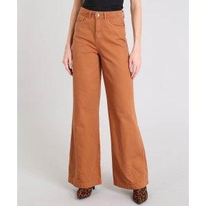 Calça De Sarja Feminina Pantalona Cintura Alta Caramelo