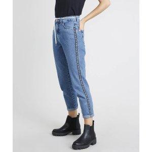 Calça Jeans Feminina Mom Com Faixa Lateral E Cadarço Azul Médio