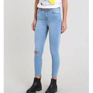 Calça Jeans Feminina Cropped Destroyed Com Cinto Azul Claro