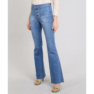 Calça Jeans Feminina Flare Barra Desfeita Azul Médio