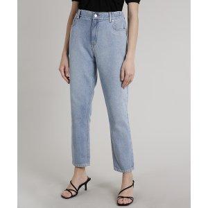 Calça Jeans Feminina Mindset Mom Azul Claro