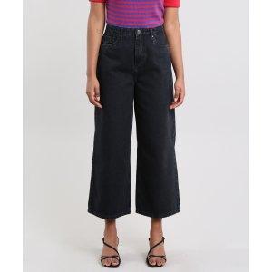 Calça Jeans Feminina Mindset Pantacourt Preta