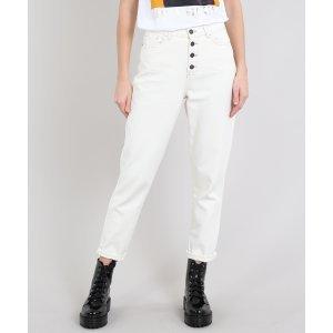 Calça Jeans Feminina Mom Com Botões Off White