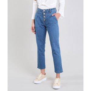 Calça Jeans Feminina Sawary Mom Azul Médio