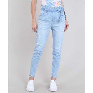 Calça Jeans Feminina Sawary Mom Com Faixa E Rasgos Azul Claro