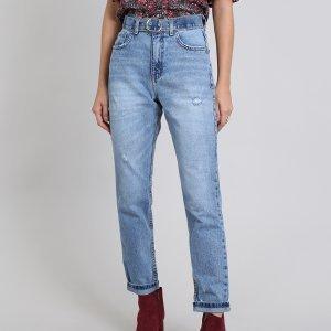 Calça Jeans Feminina Mom Azul Médio