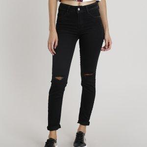 Calça Jeans Feminina Skinny Sawary Com Rasgo No Joelho Preta