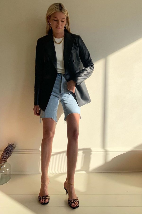 Camille Charriere - bermuda jeans - dad shorts - verão - street style