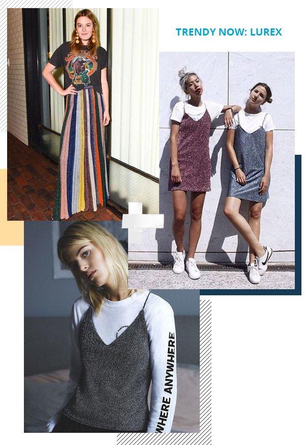 Camille Rowe - t-shirt e saia de lurex - lurex - meia-estação - street style