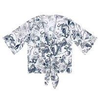 Camisa Manga 7/8 Com Amarração Em Voil Estampado