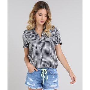 Camisa Feminina Estampada Xadrez Vichy Com Bolso E Botões Manga Curta Preta