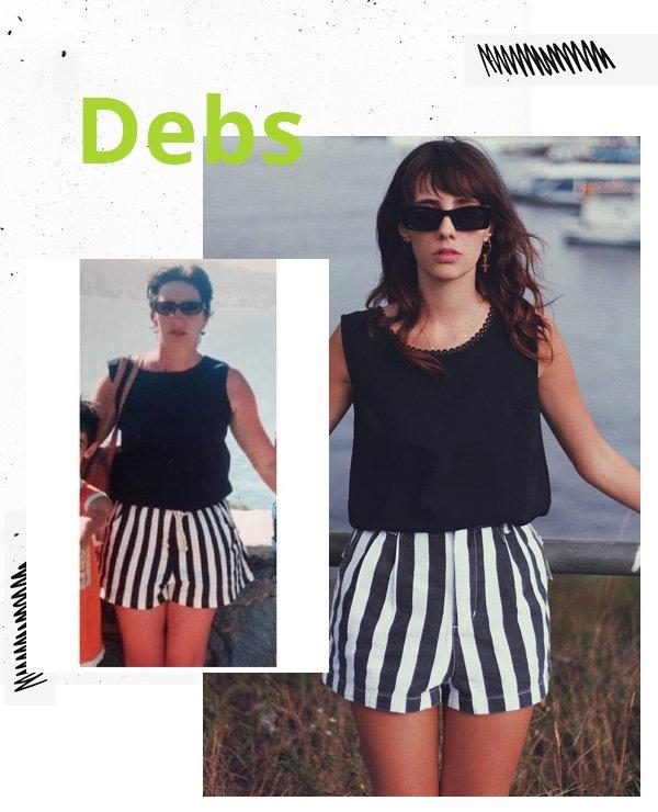 Debora Spanhol - short listrado e blusa preta - looks anos 90 - meia-estação - street style