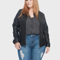 jaqueta pu essential plus size