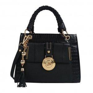 Bolsa estruturada preta com bag charm I19