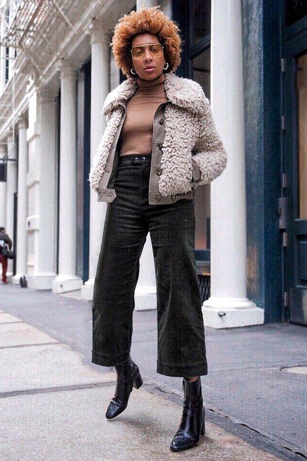 Karen Blanchard - pantacourt - pantacourt e bota - meia-estação - street style