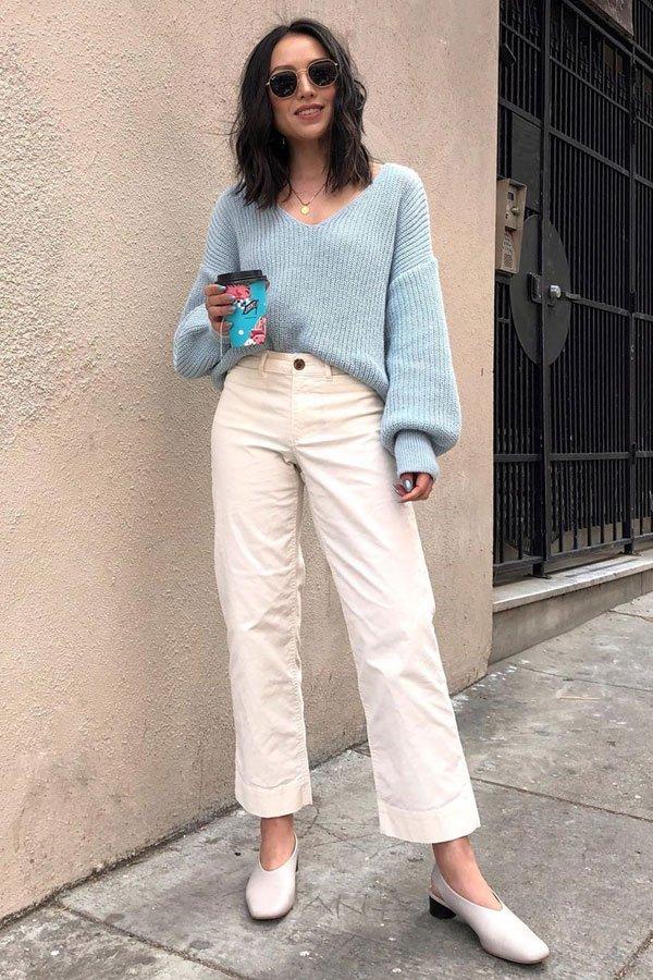 Kate Ogata - pantacourt branca e salto grosso - sapatos office look - inverno - street style