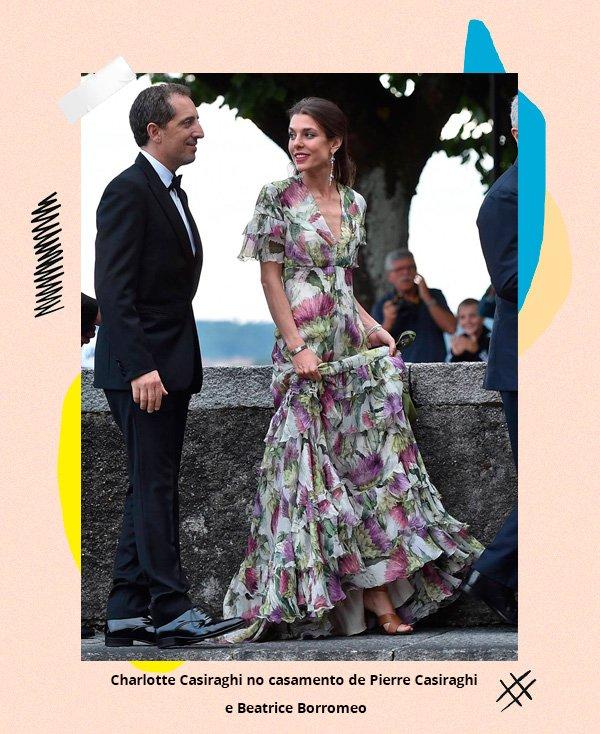 Charlotte Casiraghi  - vestido-longo-floral - casamento - inverno - street-style