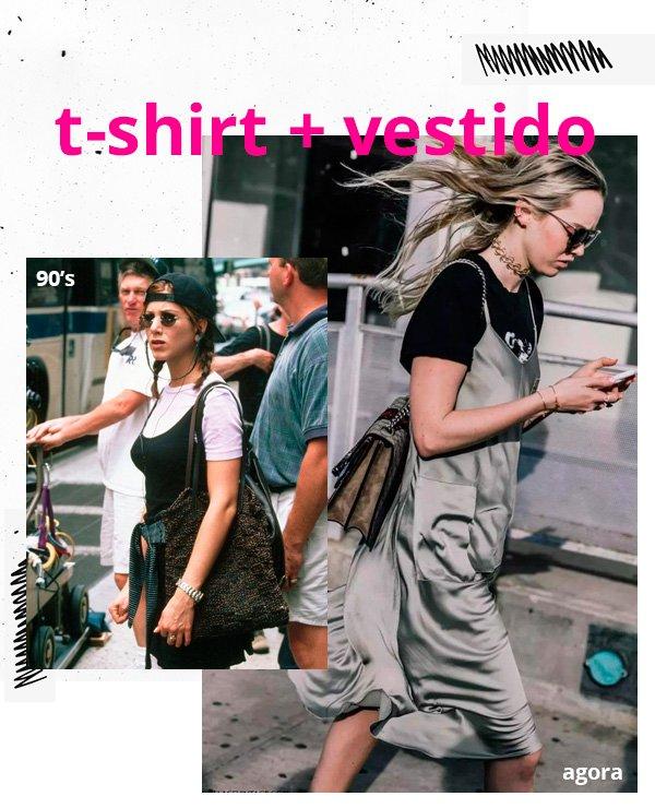 Jennifer Aniston - vestido-e-camiseta - anos 90 - inverno - street-style
