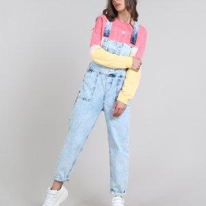 Macacão Jeans Feminino Com Bolsos Azul Claro