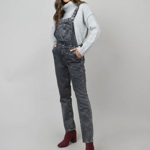 Macacão Jeans Feminino Com Bolsos Preto