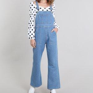 Macacão Jeans Feminino Mindset Flare Azul Claro