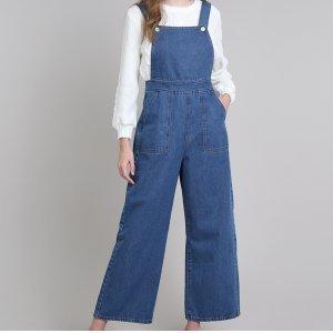 Macacão Jeans Feminino Mindset Pantalona Com Bolsos Azul Médio