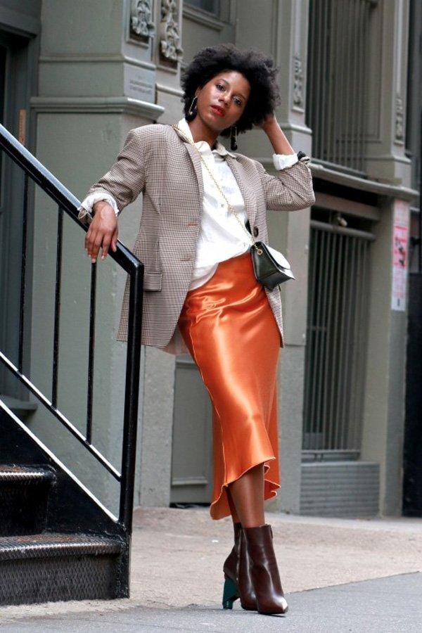 Monroe Steele - saia modo - saia midi - meia-estação - street style