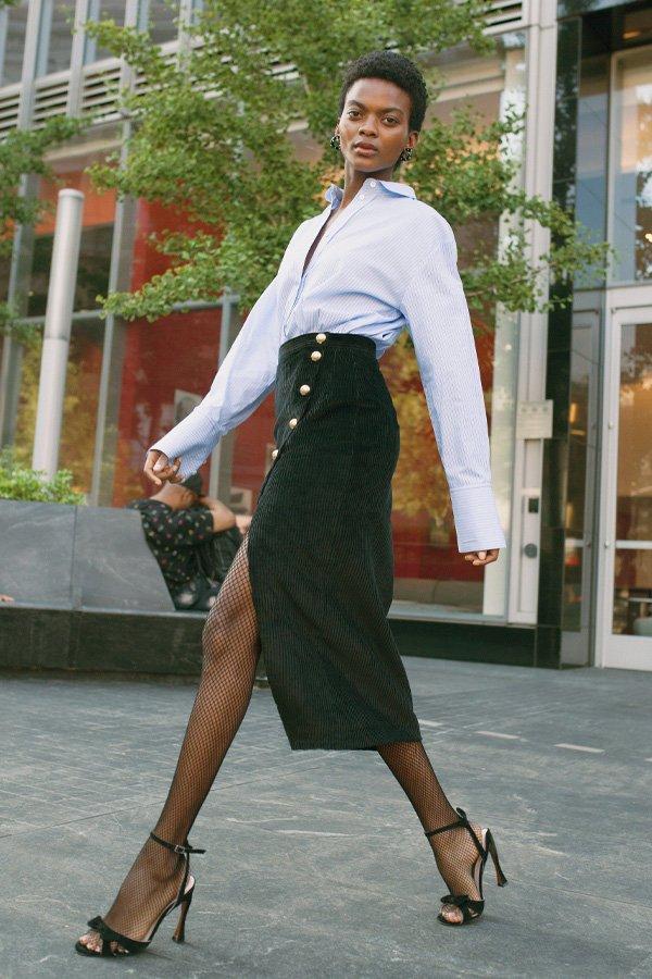 reprodução pinterest - saia midi cotele e camisa - saia midi - meia-estação - street style