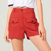 Shorts Cintura Alta Com Bolso Cargo - Vermelho