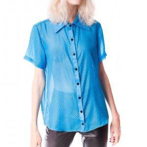 Camisa De Chiffon Checkered Azul - P Azul